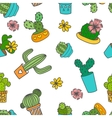 Cute doodle cactus and flowers in a pots vector image