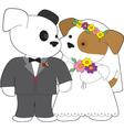cute puppy marriage vector image vector image