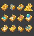 Treasure Chests Isometric Cartoon Set vector image