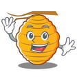 waving bee hive character cartoon vector image