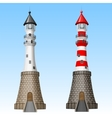 white and red lighthouses vector image