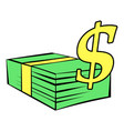 stack of dollars icon icon cartoon vector image