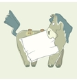 Cartoon Character Horse with Wooden Poster vector image