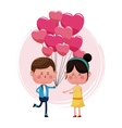 boy with balloons heart shape and girl happy vector image
