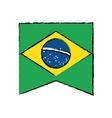 brasilian flag hanging symbol draw vector image