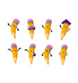 cartoon clever pencil character set vector image