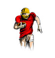 color line sketch of american football player vector image