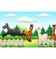 Four horses running the park vector image