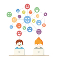 Social Media network people with computers vector image vector image