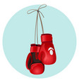 boxing leather gloves in red and black color vector image