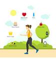 cartoon jogging girl infographics vector image