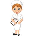 Cartoon smiling nurse holding clipboard vector image