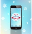christmas gift phone poster card with vector image
