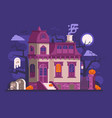 halloween haunted house scene vector image