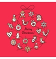 Red greeting card with Christmas wreath vector image