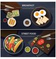 breakfast and street food banner vector image
