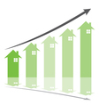 Green graph show home price increase stcok vector image