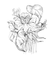 black and white bouquet vector image