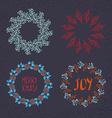 Christmas wreath drawn set vector image