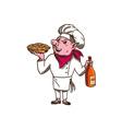 Pig Cook Pie Wine Bottle Cartoon vector image