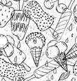 Graphic Seamless Pattern Of Cartoon Ice Cream vector image