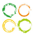 colorful set with rainbow circle brush strokes vector image