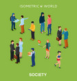 isometric flat people crowd vector image