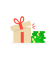 open gift box with pile of money vector image