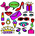 pop art girlish fashion sticker color set vector image