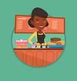 worker standing at the counter at the bakery vector image