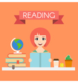 young handsome woman reading a book vector image
