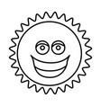 figure sticker happy sun icon vector image vector image