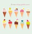 ice cream cone set paper cutout stickers bright vector image