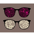Retro sunglasses with birds and mushrooms vector image vector image
