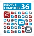 36 media  computer buttons vector image