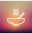 Hot meal in bowl thin line icon vector image