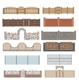 Different designs of fences and gates isolated on vector image