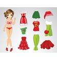 Paper Christmas Brunette Doll vector image