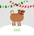 christmas 2018 dog vector image