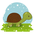 cute adorable turtle animal cartoon vector image