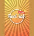 final sale poster with sunburs vector image