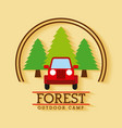 forest outdoor camp jeep travel tree badge vector image