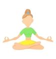 Girl in yoga pose icon cartoon style vector image