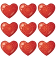 Valentine red hearts with pattern set vector image vector image