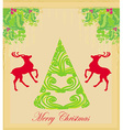 christmas tree and red reindeer - background for vector image