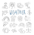 Hand draw cartoon weather events doodle icons vector image