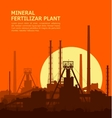 Mineral fertilizers plant at sunset vector image