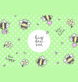 bees stickers frame vector image