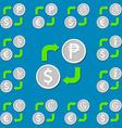 Currency exchange Set 5 Euro Dollar Peso Guarani vector image