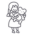 girl with teddy bear line icon sign vector image
